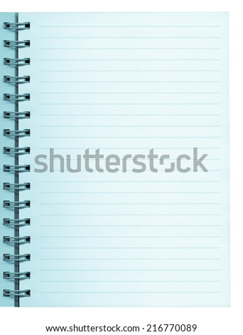 Notebook blank note pad page useful as background - cool cyanotype
