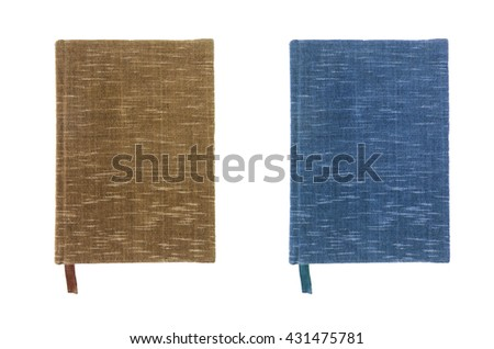 Notebook Brown and blue cover Compact size on white background - stock photo