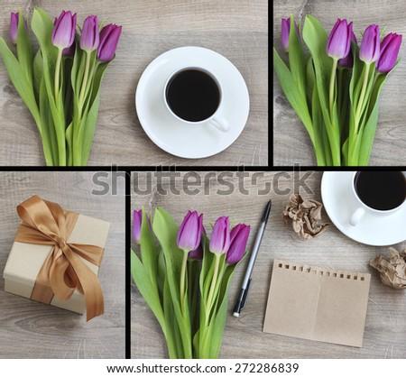 notebook coffee mug flowers tulips vintage wood background - stock photo