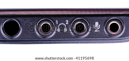 notebook computer audio output - stock photo