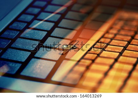 Notebook computer keyboard. Small depth of field.  - stock photo