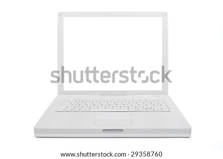 Notebook computer (laptop), white. With Clipping path. - stock photo