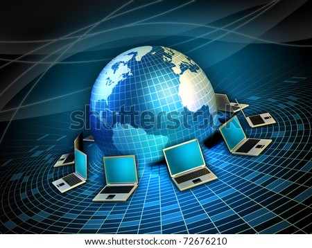 Notebook computers arranged around a 3D Earth model. Digital illustration. - stock photo