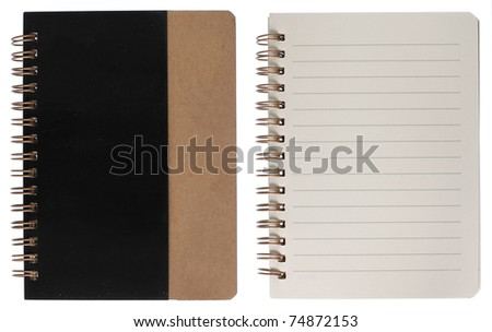 notebook cover and inside page. isolated over white background