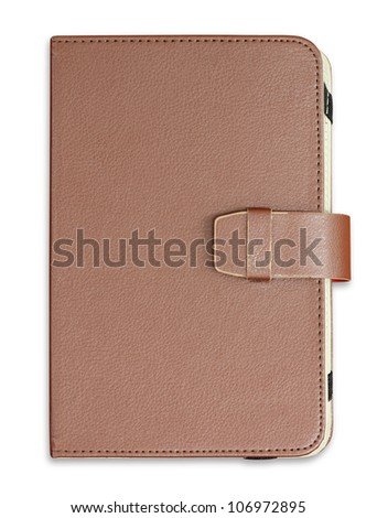 Notebook cover on white background - stock photo