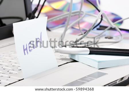 Notebook crash - stock photo