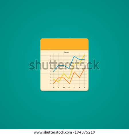 Notebook Icon with line graph. Illustration - stock photo