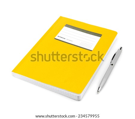 Notebook in a cage with a ballpoint pen on a white background isolated - stock photo