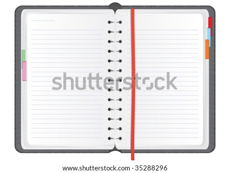 notebook in a textured realistic leather cover, illustration - stock photo