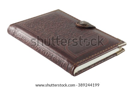 Notebook in leather cover - stock photo