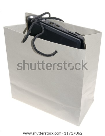 notebook in the paper bag - stock photo