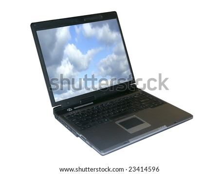 Notebook isolated with clouds on screen, with clipping path inside and outside - stock photo