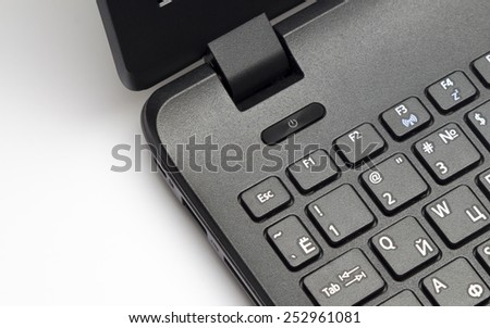Notebook keypad, fragment. Elements of the keypad of the modern notebook.  - stock photo