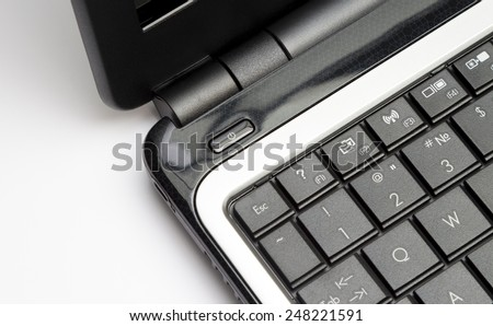 Notebook keypad, fragment. Elements of the keypad of the modern notebook. shot on camera  Canon EOS 650D, lens  Canon EF24-105L  - stock photo