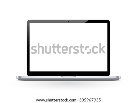 Notebook - Laptop - Front View with White Monitor for Your Own Advertising Text or Graphics. - stock photo