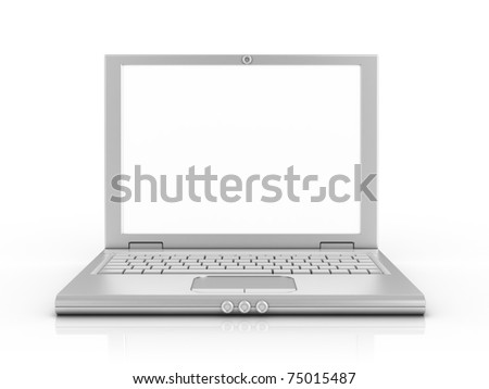 notebook, laptop, netbook isolated on white background 3d illustration - stock photo