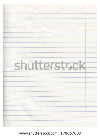 Notebook Line White Paper With Margin Isolated - stock photo
