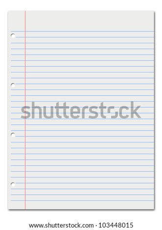 Notebook lined white paper. Space to text. - stock photo