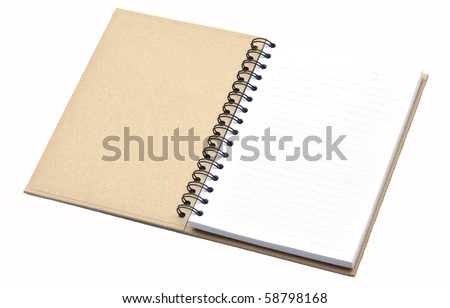 Notebook made from recycle paper on white background