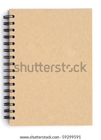 Notebook made from recycle paper on white background - stock photo