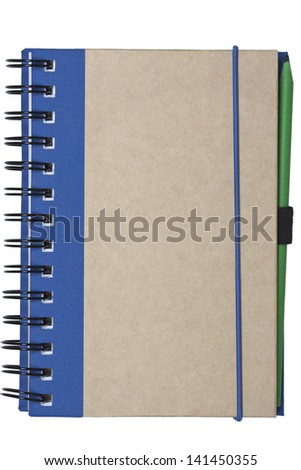 notebook made of recycled paper isolated on white background with green pencil - stock photo