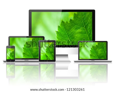 Notebook, mobile phone, tablet pc and computer - stock photo