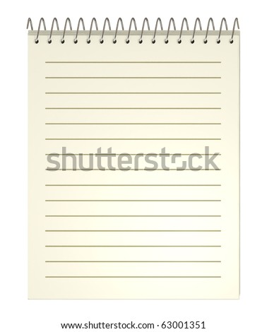 Notebook, old, spiral, clipping path included, 3d illustration, isolated on white - stock photo