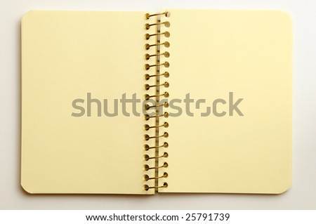 Notebook on a white background.
