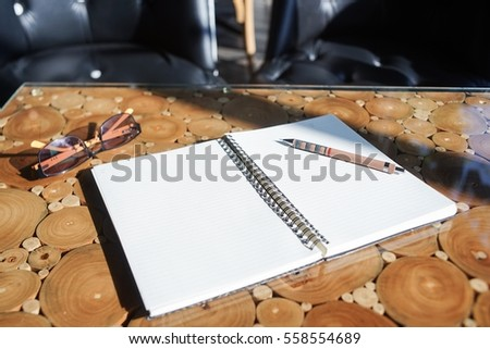 Notebook on table for your idea