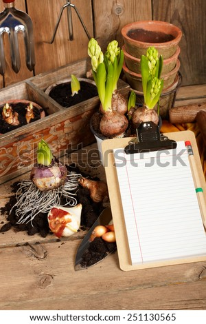 notebook on the background of plants - stock photo