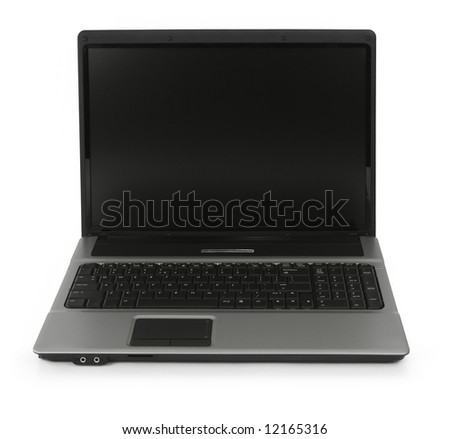 notebook on white background, minimal natural shadow in front - stock photo