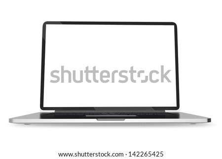 Notebook on White. Modern Laptop Computer Isolated on White Background. Computers Technology Collection. - stock photo