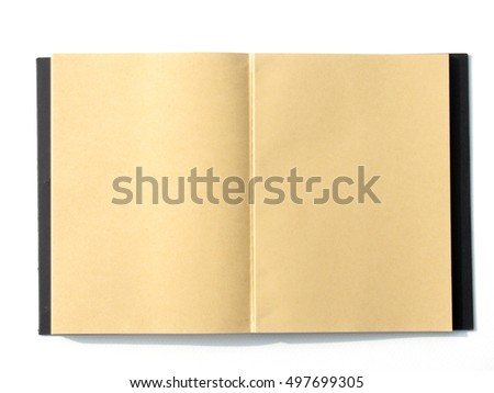 notebook open blank brown page