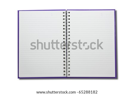 notebook open two pages on white background - stock photo
