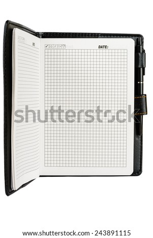 Notebook or diary with blank pages, open, white and pen
