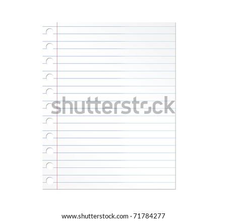 Notebook paper illustration over white background. Illustration - stock photo