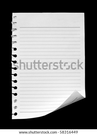 notebook paper on black background - stock photo