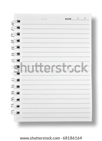 Notebook Paper on White Background