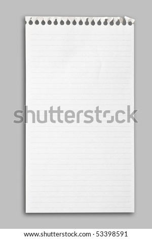 Notebook paper sheet on neutral gray background, clipping path. - stock photo
