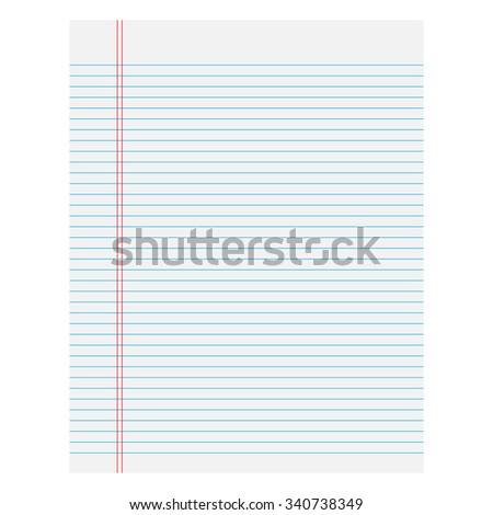 Notebook paper with lines on a white  background - stock photo