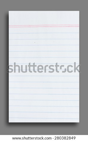Notebook paper with lines on Gray background - stock photo