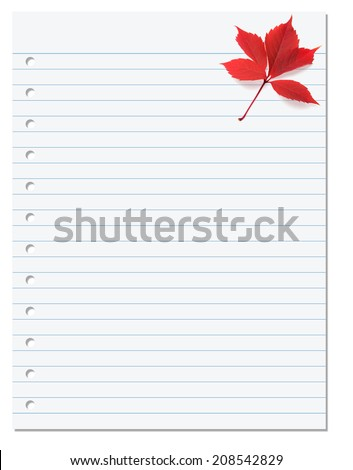 Notebook paper with red autumn virginia creeper leaf in corner. Back to school background - stock photo
