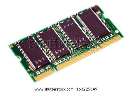 Notebook RAM module isolated on white background.