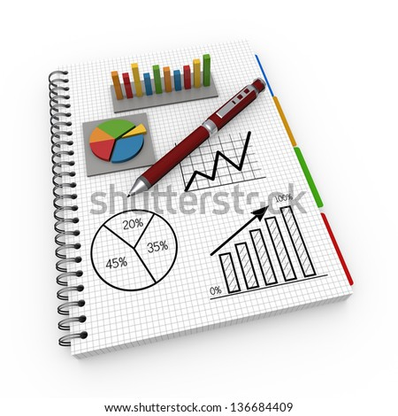 Notebook report concept - stock photo