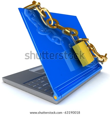 Notebook Security - stock photo