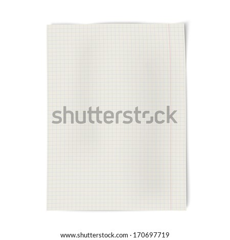 Notebook squared paper isolated on white background. Raster version illustration. - stock photo