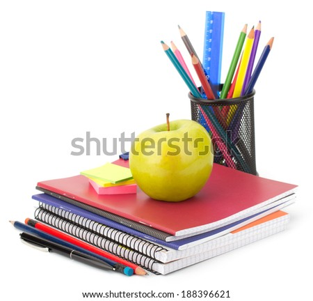 Notebook stack and pencils. Schoolchild and student studies accessories.