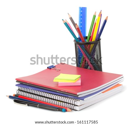 Notebook stack and pencils. Schoolchild and student studies accessories. Back to school concept. - stock photo