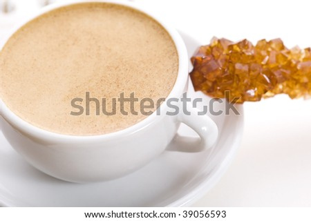 notebook, sugar and cup of coffee - stock photo