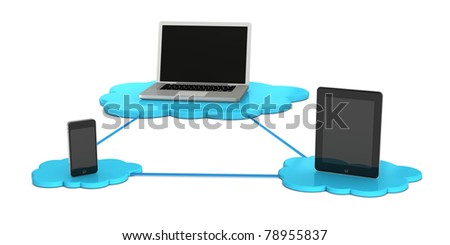 notebook, tablet and smartphone connected each other to demonstrate the concept of cloud computing (3d render) - stock photo